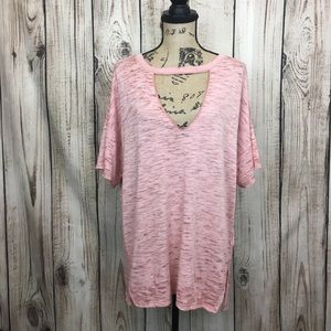 WE RHE FREE Oversized Sheer Knit Top Medium  Pink